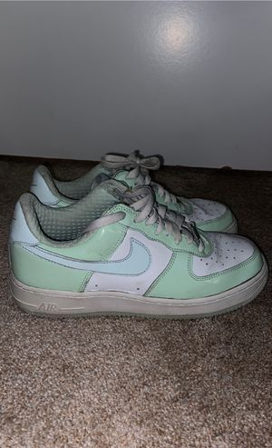 Vintage Nike Air Force 1 lows white and sea foam green patterned leather for Sale in Riverside, CA