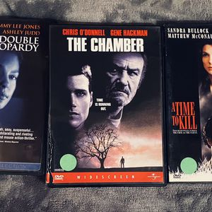 3 DISC THRILLER DVD MOVIE SET: Includes The Chamber, A Time To Kill, & Double Jeopardy for Sale in Mansfield, TX