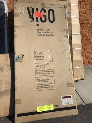 Brand New Cameo 36 in. x 74.375 in. Frameless Pivot Shower Door with Clear Glass and Chrome Handle for Sale in Virginia Beach, VA