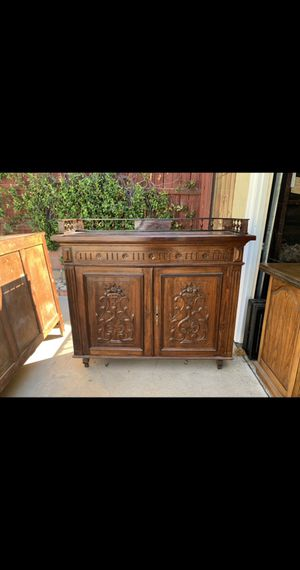 Vintage Antique Wood Carved Sideboard Buffet Cabinet for Sale in Covina, CA