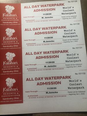 Kalahari day passes for Sale in Lorain, OH