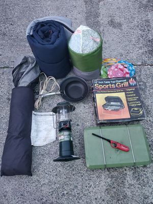 Camping package Coleman lantern, tent, grill, sleeping bags for Sale in BETHEL, WA