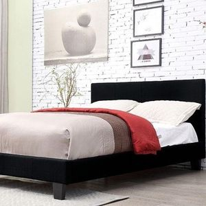 Queen size black linen platform bed with mattress and free delivery for Sale in Arlington, TX