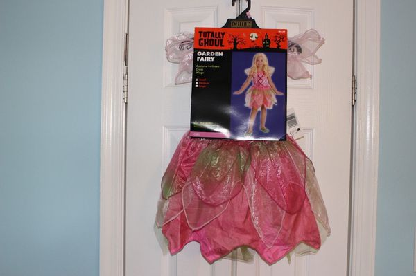 Halloween Costume Girl GARDEN FAIRY Small Pink Dress Wings - NEW w Tag