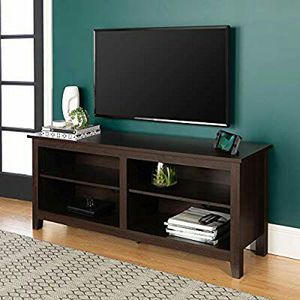 "WE Furniture Minimal Farmhouse Wood Universal Stand for TV's up to 64"" Flat Screen Living Room Storage Shelves Entertainment Center, 58 Inch for Sale in Houston, TX"