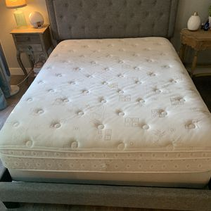 Queen Size Mattress + Box Frame + Upholstered Frame for Sale in Encinitas, CA