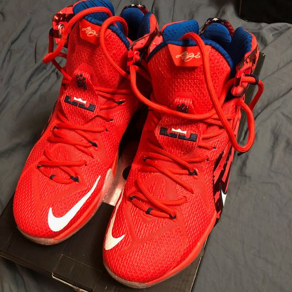 Nike LeBron XII 12 USA Independence Day 4th July Crimson men's size 9.5
