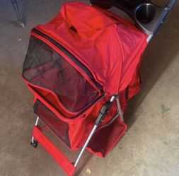 4 wheels pet stroller cat dog cage stroller travel folding carry red for Sale in Carson,  CA