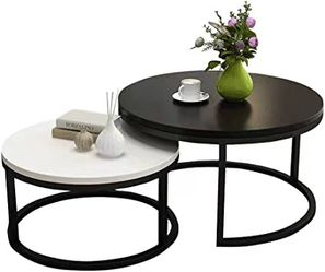 NEW CharaHOME 2 PC Set Round Coffee Table Nesting Table 36 Diameter Inch Black Large 28 Inches Small White Furniture for Sale in South El Monte,  CA