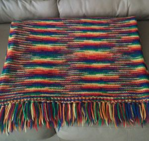 Hand Knit Fringed Lap Throw Blanket for Sale in Gaithersburg, MD