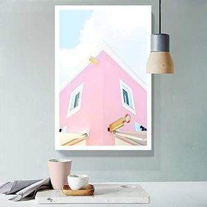 ((FREE SHIPPING)) fresh pink color tone modern building drawing - giclee print gallery wrap modern home decor Painting like print for Sale in San Francisco, CA