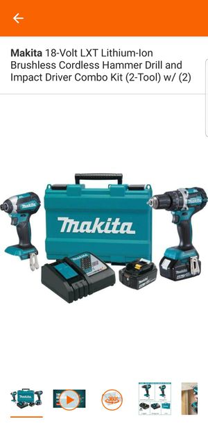 Makita 18-Volt LXT Lithium-Ion Brushless Cordless Hammer Drill and Impact Driver Combo Kit (2-Tool) w/ (2) 4Ah Batteries, Case for Sale in Sacramento, CA