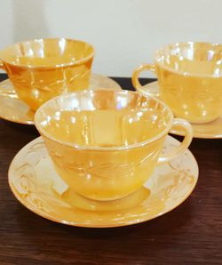 Mid Century Fire King Peach Luster Tea Cups And Saucers for Sale in Tacoma,  WA
