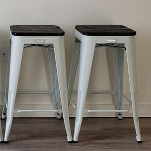 "Buschman Matte White & Wooden Seat Counter Height Metal Bar Stools (26"" Height), Set of 2 for Sale in Milwaukie, OR"
