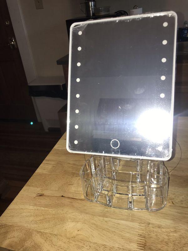 LED Vanity/Makeup Mirror With Acrylic Makeup Organizer Base