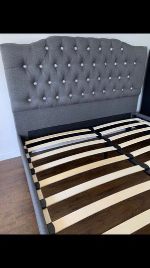 NEW, Full Size Bed Frame, Blue Grey Color, SKU# F9333F for Sale in Huntington Beach, CA