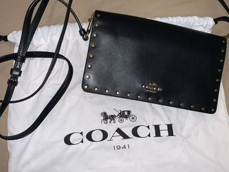 Coach Ladies Small Foldover Crossbody Clutch With Border Brass Rivets for Sale in Rockville,  MD