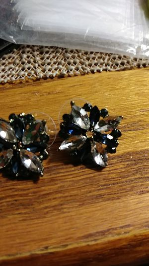 Blue sapphire and crystal flower earrings for Sale in Fresno, CA