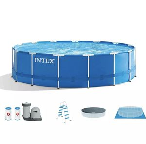 Intex 18ft x 48in Prism Metal Frame Above Ground Swimming Pool w/Pump for Sale in McDonald, PA