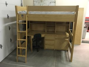 Kids Bedroom Furniture - Full size bunk bed over desk set up, matching dresser with mirror for Sale in Mesa, AZ