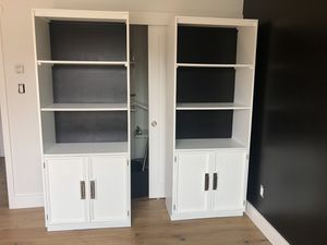 Set of refinished vintage bookshelves with base cabinets. for Sale in San Clemente, CA