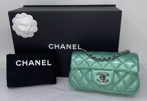 CHANEL Patent Calfskin Quilted Extra Mini Classic Flap Bag Green ❤️ for Sale in Corona, CA