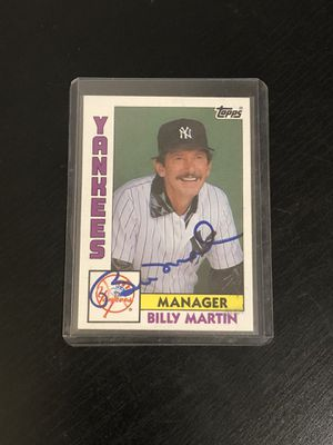 Billy Martin New York Yankees Hand signed Autograph Baseball Card for Sale in Davenport, FL