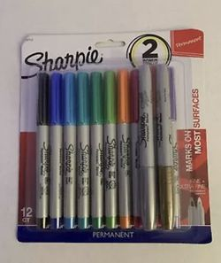 Assorted Sharpie Permanent Markers Fine Ultra Point 10+ 2 Bonus Metallic =12 CT for Sale in Soledad, CA