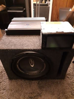 12in subwoofer amplifier and touchscreen big screen deck for Sale in West Valley City, UT