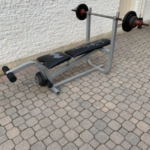 Bench Press Plus 120.5lbs Of Standard 1 Inch Weight Plates Plus 1 Inch Barbell for Sale in Barrington, IL
