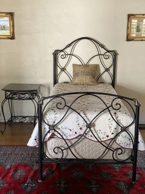 Wrought Iron Twin Bed with Black Marble Top Bedside Table for Sale in Pasadena, CA