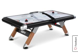 (Damage) ESPN Belham Collection 8' Air Powered Hockey Table, Overhead Electronic Scorer and Table Cover, Black for Sale in Hayward, CA