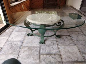 Table, 2 end tables, and fan for Sale in St. Petersburg, FL
