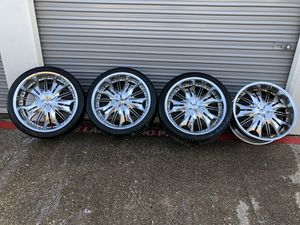 """22"""" chrome rims with tires for Sale in Fort Worth, TX"""
