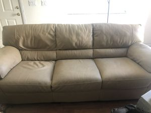 Beautiful Natuzzi Leather Couch, chair and matching ottoman for Sale in Las Vegas, NV