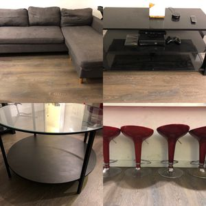 MUST GO! (Couch, Bar stools, Center Table, Entertainment Stand) for Sale in Los Angeles, CA