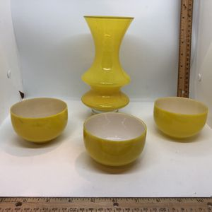 Bright Yellow Glass Modern Carafe And 3 Cups for Sale in South Hill, WA
