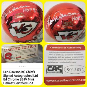 LEN DAWSON signed/insignia KANSAS CITY CHIEFS Mini Helmet for Sale in Wichita, KS