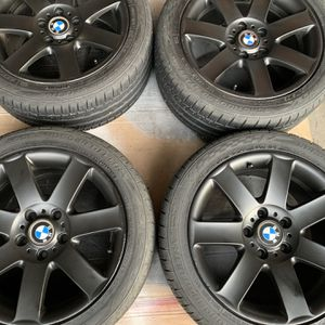 "BMW OEM 17""x8"" Wheels W/ 90% Tread Roadhugger Tires! (Set Of 4) 5x120 Bolt Pattern for Sale in Lacey, WA"