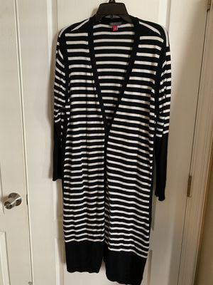 Vince Camuto Black and white strip cardigan duster for Sale in Kissimmee, FL