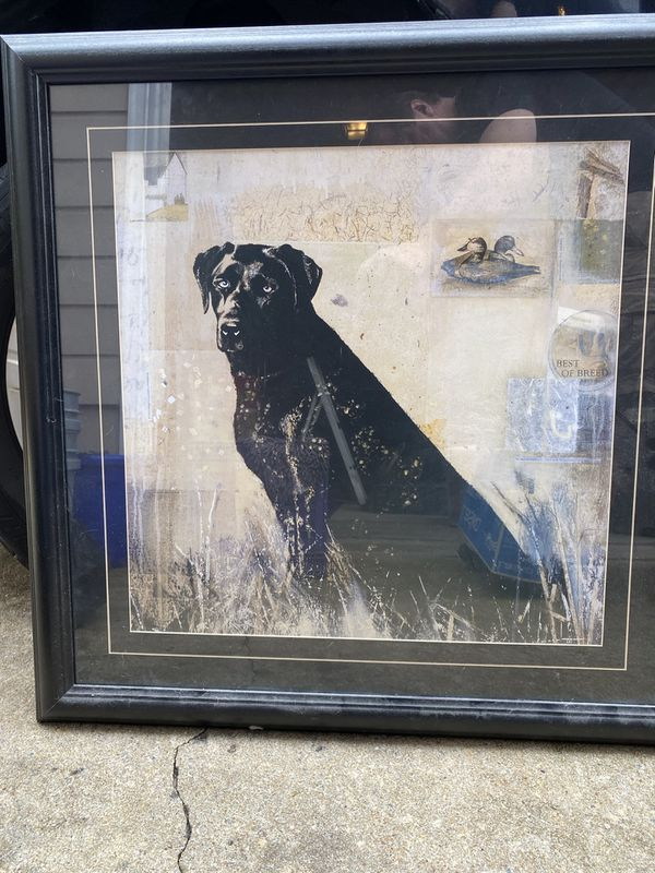 Labrador painting with black frame