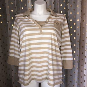 Tan and white striped 3/4 length sleeves collared shirt for Sale in Saint Albans, WV