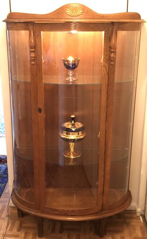 Gorgeous curved glass antique lighted curio display china cabinet for Sale in Alexandria, VA