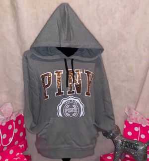 New Victoria's Secret pink medium bling hoodie rose gold gray fitted for Sale in Brea, CA