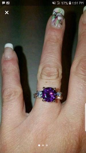Sterling silver amethyst and white sapphire ring size 7 for Sale in Dundalk, MD