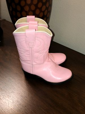 NEW OLD WEST Toddler Girls Pink Leather Round Toe Western Cowgirl Boots (Sz 6.5) for Sale in Everett, WA