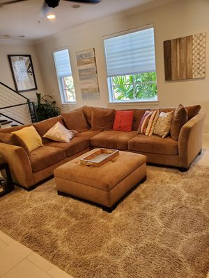 2 Piece Sectional Couch with Ottoman for Sale in Delray Beach, FL