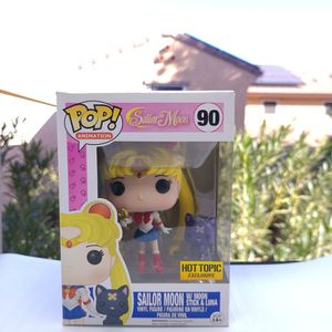Sailor Moon With Moon Stick & Luna #90 Animation Sailor Moon Hot Topic Funko Pop Exclusive for Sale in Gilbert, AZ