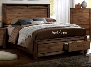 Brand New Rustic Wooden Storage Bed Frame In Queen, King, Cal King / No Box Spring Required for Sale in San Leandro, CA