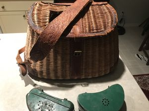 Antique kneel fishing bag with bait boxes for Sale in Newport, WA